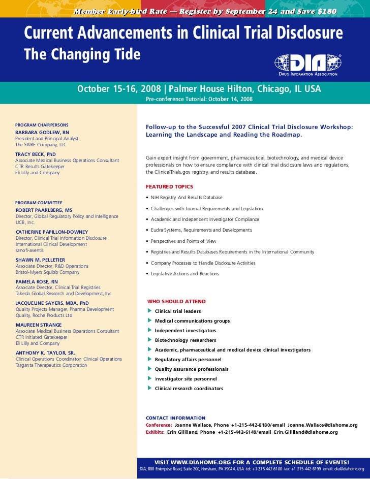 Member Early-bird Rate — Register by September 24 and Save $180    Current Advancements in Clinical Trial Disclosure    Th...