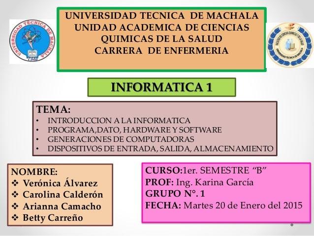 UNIVERSIDAD TECNICA DE MACHALA UNIDAD ACADEMICA DE CIENCIAS QUIMICAS DE LA SALUD CARRERA DE ENFERMERIA NOMBRE:  Verónica ...