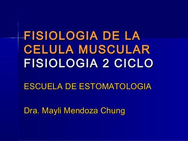 FISIOLOGIA DE LACELULA MUSCULARFISIOLOGIA 2 CICLOESCUELA DE ESTOMATOLOGIADra. Mayli Mendoza Chung