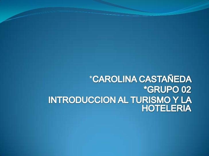 *CAROLINA CASTAÑEDA   <br />      *GRUPO 02<br />INTRODUCCION AL TURISMO Y LA HOTELERIA<br />