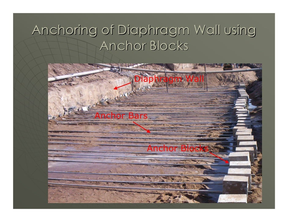 Anchoring of Diaphragm Wall using          Anchor Blocks                   Diaphragm Wall             Anchor Bars         ...
