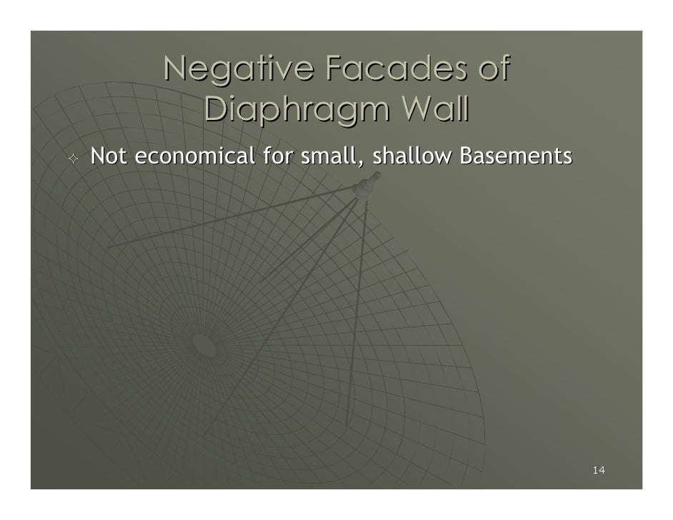 Negative Facades of         Diaphragm Wall Not economical for small, shallow Basements                                    ...