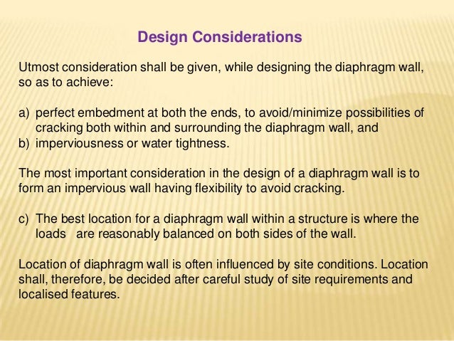 GUIDELINES FOR STRUCTURAL DESIGN Structural Analysis: Rigid type of diaphragm wall is to be analyzed either by the method ...
