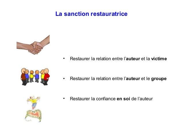La sanction restauratrice • Restaurer la relation entre l'auteur et la victime • Restaurer la relation entre l'auteur et l...