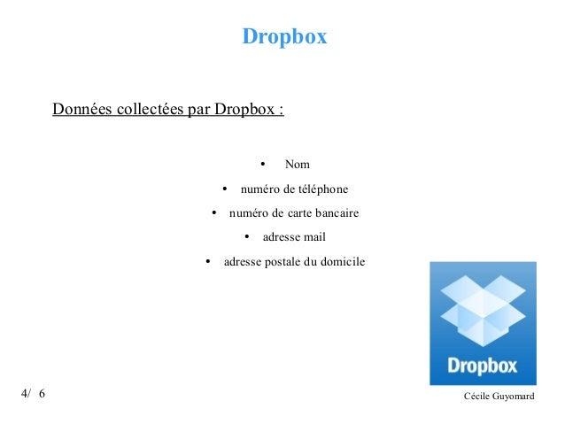 Dropbox Données collectées par Dropbox :  ●  ●  ●  numéro de téléphone numéro de carte bancaire ●  ●  4/ 6  Nom  adresse m...