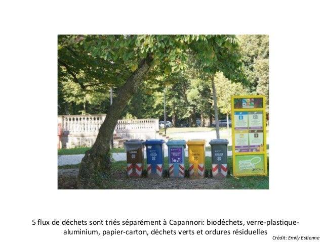 5 flux de déchets sont triés séparément à Capannori: biodéchets, verre-plastique-aluminium,  papier-carton, déchets verts ...