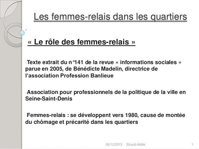 Les femmes-relais dans les quartiers « Le rôle des femmes-relais » -Texte  extrait du n°141 de la revue « informations soc...
