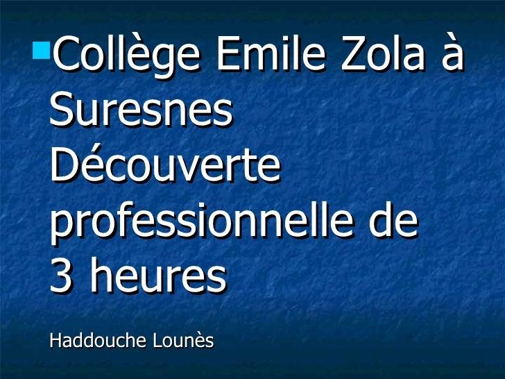 <ul><li>Collège Emile Zola à Suresnes Découverte professionnelle de  3 heures  Haddouche Lounès </li></ul>
