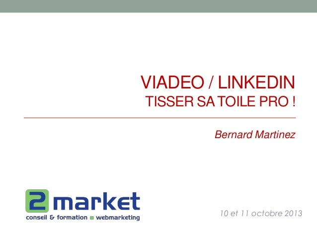 VIADEO / LINKEDIN TISSER SATOILE PRO ! 10 et 11 octobre 2013 Bernard Martinez