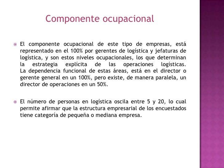 Componente ocupacional<br />El componente ocupacional de este tipo de empresas, está representado en el 100% por gerentes ...