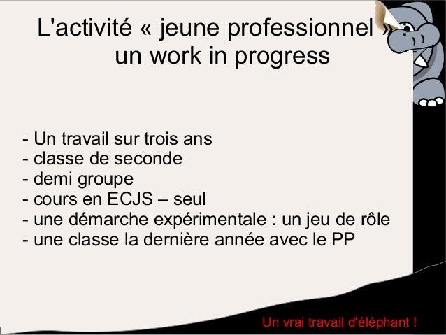 L'activité « jeune professionnel » : un work in progress - Un travail sur trois ans - classe de seconde - demi groupe - co...
