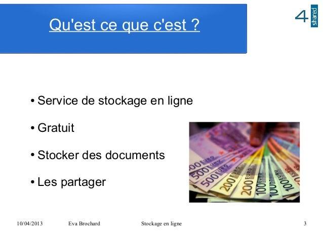 Quest ce que cest ?     ●   Service de stockage en ligne     ●   Gratuit     ●   Stocker des documents     ●   Les partage...