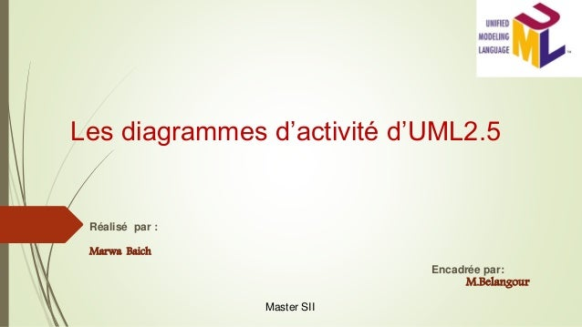 Les diagrammes d'activité d'UML2.5 Réalisé par : Marwa Baich Encadrée par: M.Belangour Master SII