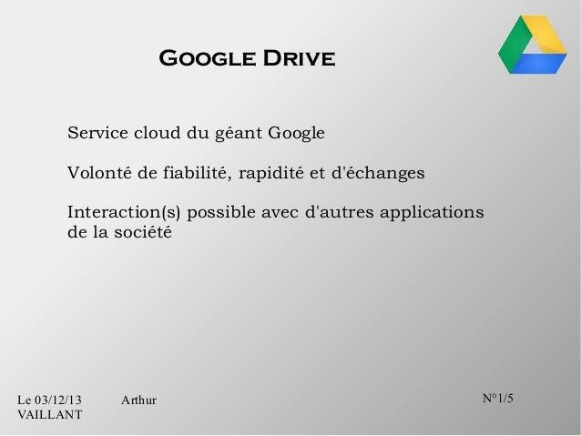 Google Drive Service cloud du géant Google Volonté de fiabilité, rapidité et d'échanges Interaction(s) possible avec d'aut...