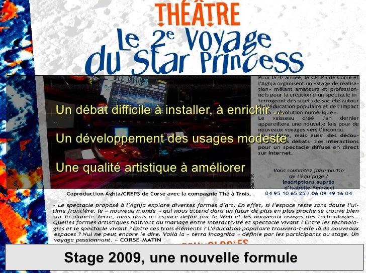 Stage 2009, une nouvelle formule Un débat difficile à installer, à enrichir ... Un développement des usages modeste  Une q...