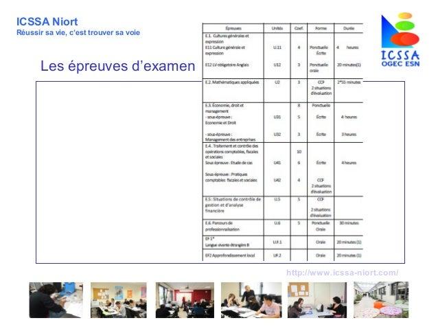 http://www.icssa-niort.com/ ICSSA Niort Réussir sa vie, c'est trouver sa voie Les épreuves d'examen