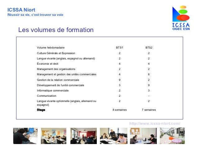 ICSSA NiortRéussir sa vie, c'est trouver sa voie       Les volumes de formation                   Volume hebdomadaire     ...