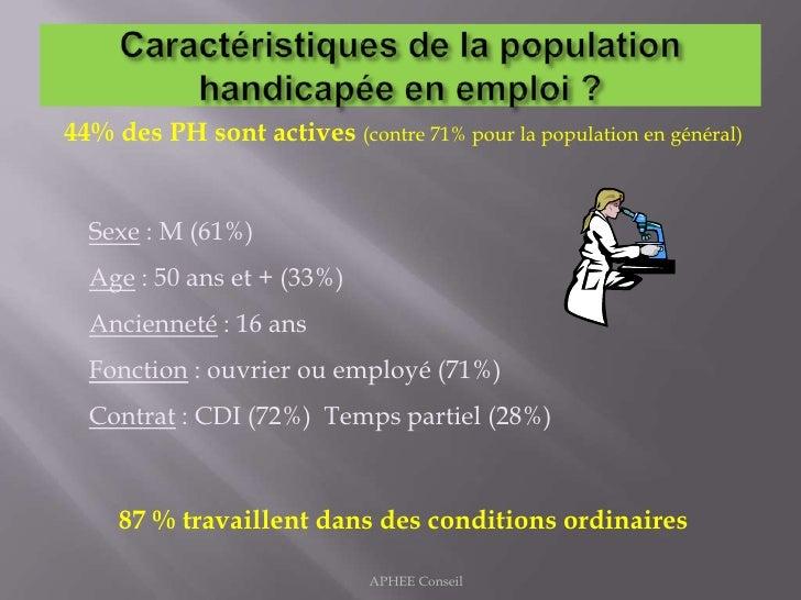 Caractéristiques de la population handicapée en emploi ?<br />44% des PH sont actives (contre 71% pour la population en gé...