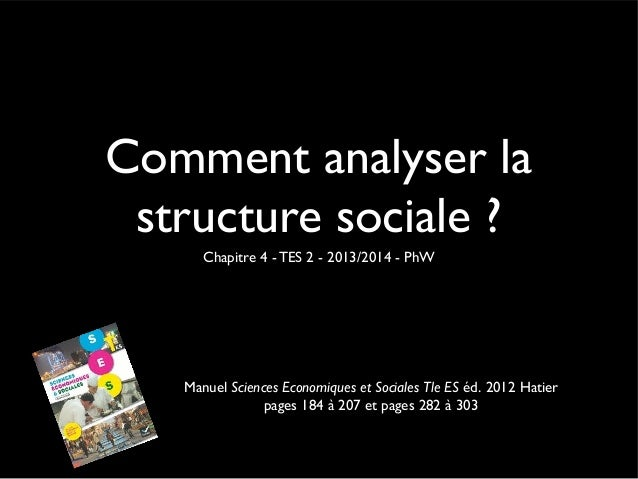 Comment analyser la structure sociale ? Chapitre 4 - TES 2 - 2013/2014 - PhW  Manuel Sciences Economiques et Sociales Tle ...
