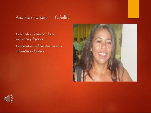 Ana ercira zapata Ceballos Licenciada en educación física, recreación y deportes. Especialista en administración de la inf...