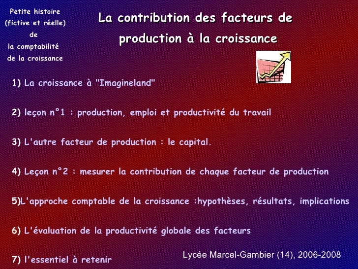 La contribution des facteurs de  production à la croissance Petite histoire (fictive et réelle) de  la comptabilité de la...