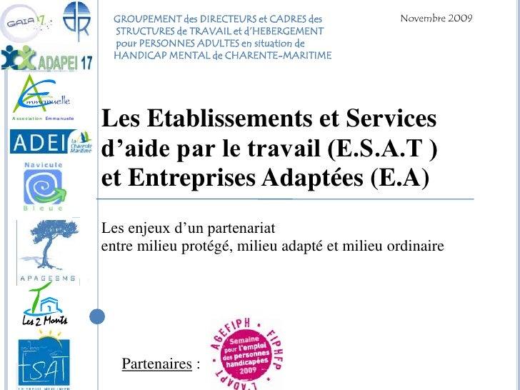 Novembre 2009<br />GROUPEMENT des DIRECTEURS et CADRES des<br /> STRUCTURES de TRAVAIL et d'HEBERGEMENT<br /> pour PERSONN...