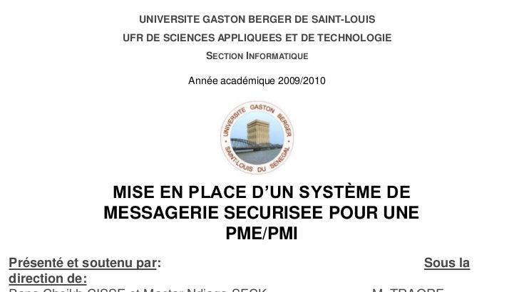 UNIVERSITE GASTON BERGER DE SAINT-LOUIS<br />UFR DE SCIENCES APPLIQUEES ET DE TECHNOLOGIE<br />Section Informatique<br />A...