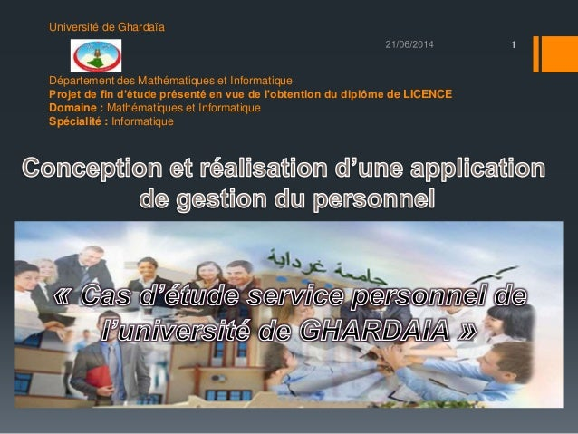 Université de Ghardaïa Département des Mathématiques et Informatique Projet de fin d'étude présenté en vue de l'obtention ...