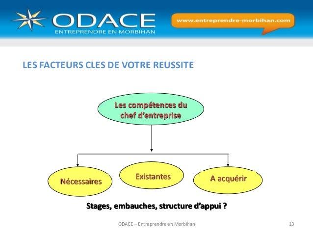 ODACE – Entreprendre en Morbihan 13 Nécessaires Les compétences du chef d'entreprise Stages, embauches, structure d'appui ...