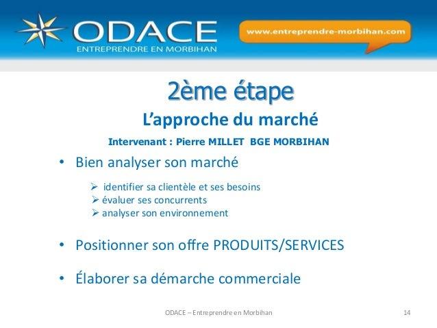 ODACE – Entreprendre en Morbihan 14 2ème étape L'approche du marché • Bien analyser son marché  identifier sa clientèle e...