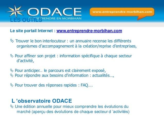 LES OUTILS Le site portail Internet : www.entreprendre-morbihan.com  Trouver le bon interlocuteur : un annuaire recense l...