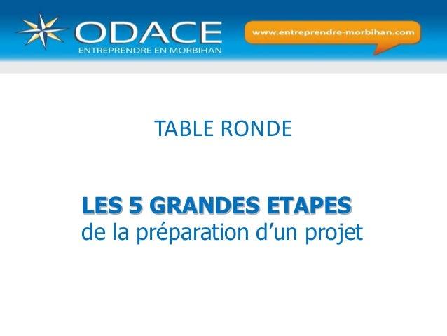 TABLE RONDE LES 5 GRANDES ETAPES de la préparation d'un projet
