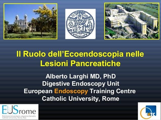 Il Ruolo dell'Ecoendoscopia nelle Lesioni Pancreatiche Alberto Larghi MD, PhD Digestive Endoscopy Unit European Endoscopy ...