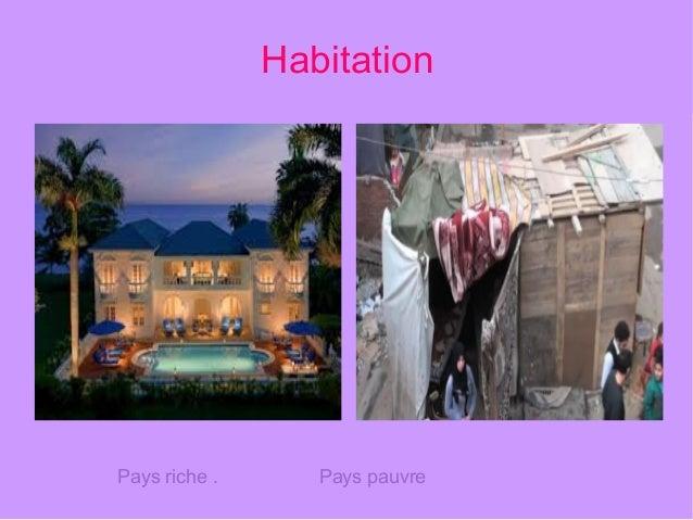 Habitation Pays riche . Pays pauvre