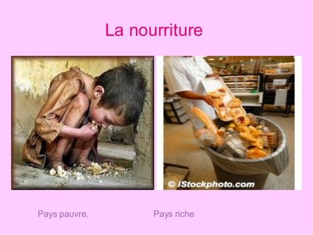 La nourriture Pays pauvre. Pays riche