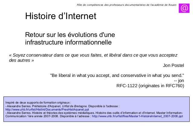 Histoire d'Internet Retour sur les évolutions d'une infrastructure informationnelle Inspiré de deux supports de formation ...