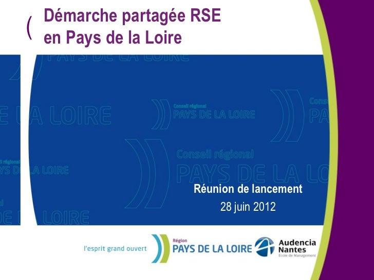 Démarche partagée RSE(   en Pays de la Loire                     Réunion de lancement                         28 juin 2012