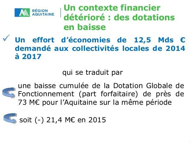 Un contexte financier  détérioré : des dotations  en baisse   Un effort d'économies de 12,5 Mds €  demandé aux collectivi...