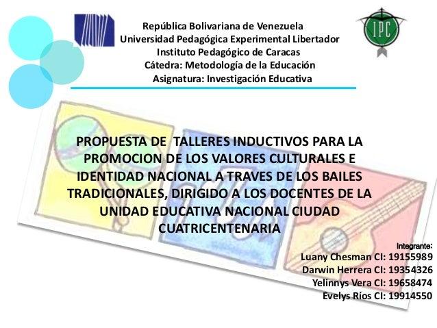 : República Bolivariana de Venezuela Universidad Pedagógica Experimental Libertador Instituto Pedagógico de Caracas Cátedr...