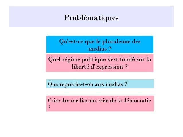 Problématiques Quel régime politique s'est fondé sur la liberté d'expression ? Qu'est-ce que le pluralisme des medias ? Qu...