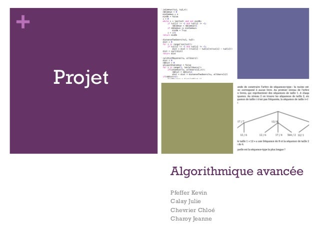 +  Algorithmique avancée  Pfeffer Kevin  Calay Julie  Chevrier Chloé  Charoy Jeanne  Projet