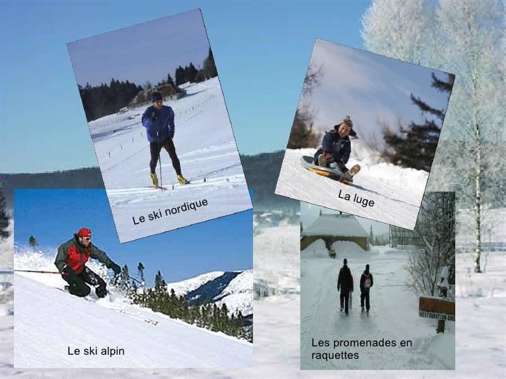 Le ski alpin Le ski nordique La luge Les promenades en raquettes
