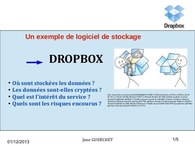 Un exemple de logiciel de stockage  DROPBOX ● ● ● ●  Où sont stockées les données ? Les données sont-elles cryptées ? Quel...
