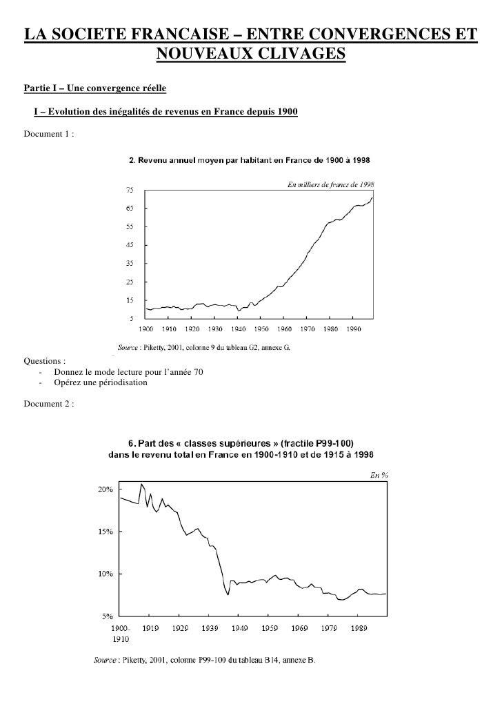 LA SOCIETE FRANCAISE – ENTRE CONVERGENCES ET              NOUVEAUX CLIVAGES Partie I – Une convergence réelle    I – Evolu...