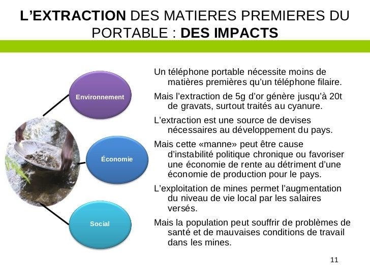 L'EXTRACTION DES MATIERES PREMIERES DU        PORTABLE : DES IMPACTS                       Un téléphone portable nécessite...