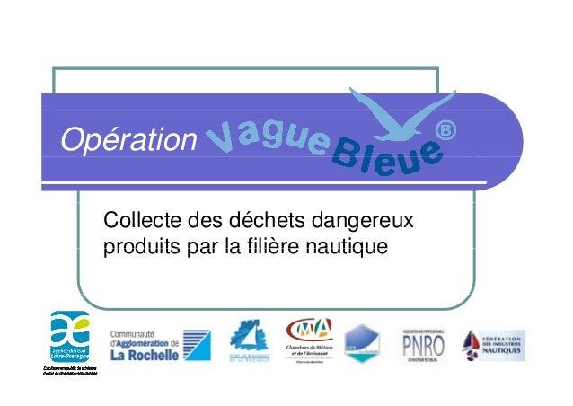 Opération Collecte des déchets dangereux produits par la filière nautiqueproduits par la filière nautique