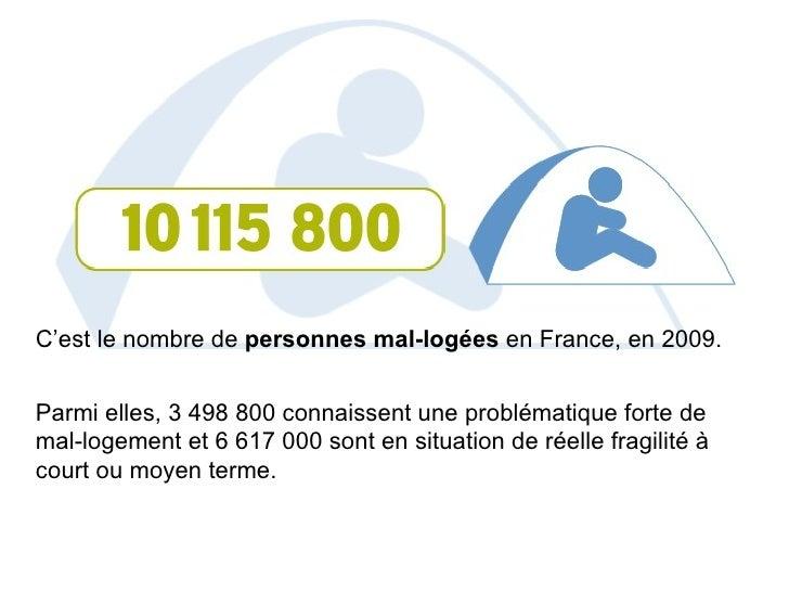 C'est le nombre de  personnes mal-logées  en France, en 2009.   Parmi elles, 3498800 connaissent une problématique forte...