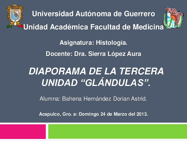 Alumna: Bahena Hernández Dorian Astrid. Acapulco, Gro. a: Domingo 24 de Marzo del 2013. Universidad Autónoma de Guerrero U...