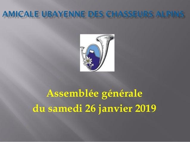 Assemblée générale du samedi 26 janvier 2019