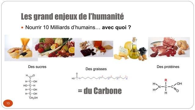 Les grand enjeux de l'humanité 13  Nourrir 10 Milliards d'humains… avec quoi ? = du Carbone Des sucres Des graisses Des p...